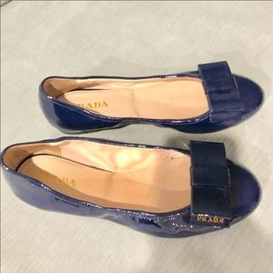 PRADA PATEN LEATHER BALLET BLUE FLATS